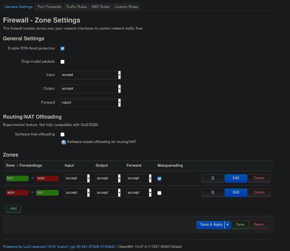 Firewall - Zone Settings