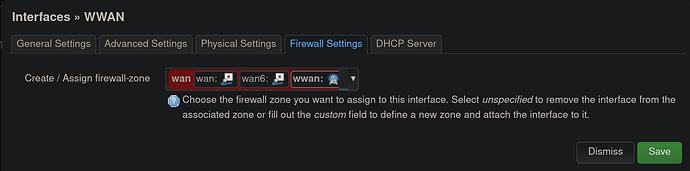 Interface WWAN 1